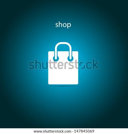 shop, bag icon - stock vector