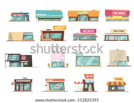 Shop building cartoon set with mini store symbols isolated vector illustration