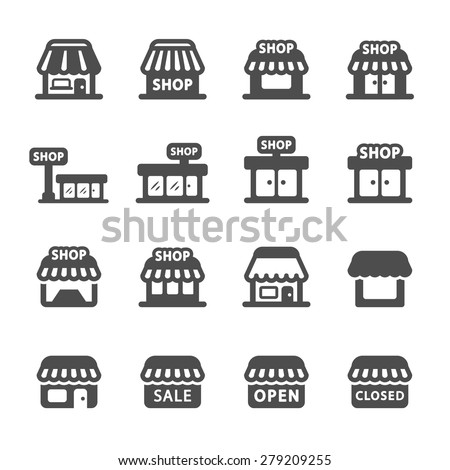 shop building icon set, vector eps10. - stock vector