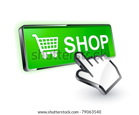 shop button icon - stock vector