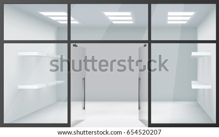 shop empty interior front store 3d stock vector 654520207 shutterstock. Black Bedroom Furniture Sets. Home Design Ideas