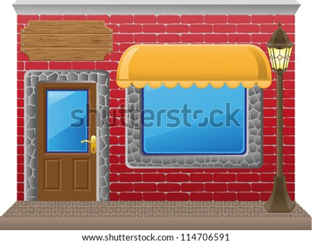 shop facade with a showcase vector illustration - stock vector