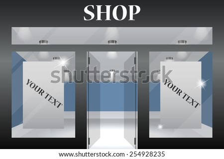 Shop Front. Exterior horizontal windows empty for your store product presentation or design. Eps10 vector.Part of set - stock vector