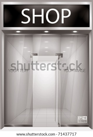 Shop Front. Exterior windows empty for your store product presentation or design. Eps10 vector - stock vector