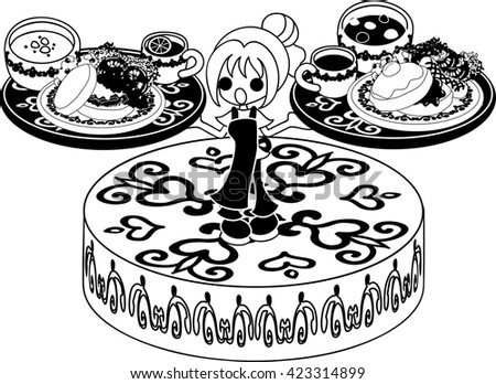 Shop girl with pancakes and soup and drinks under both hands - stock vector