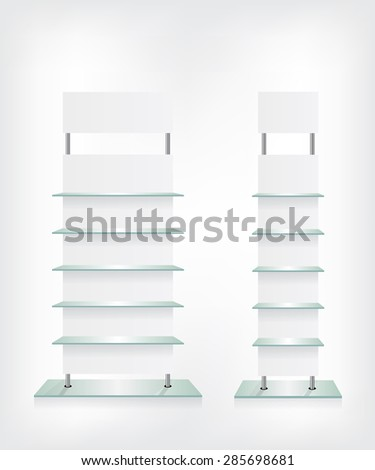 Shop glass shelves white - stock vector
