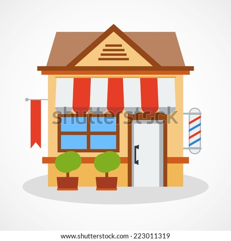Shop icon with red and white striped awning. Vector illustration. - stock vector