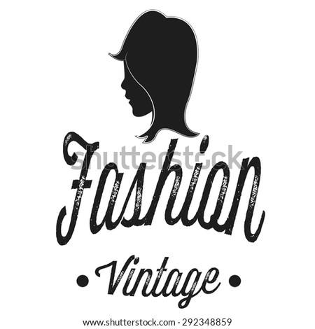 shop logo, fashion girl vintage - stock vector