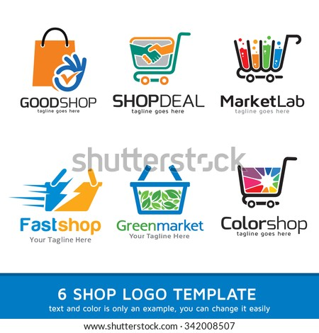 shop market logo template design vector stock vector