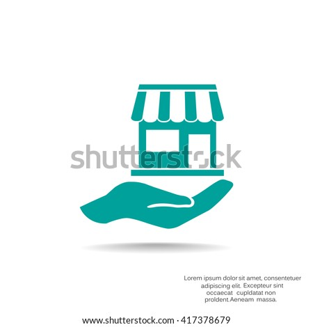 Shop on hand web icon. vector design - stock vector
