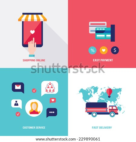 Shop online. Set of flat design icons for your business. Shopping,easy payment and fast delivery concept. Vector illustration - stock vector