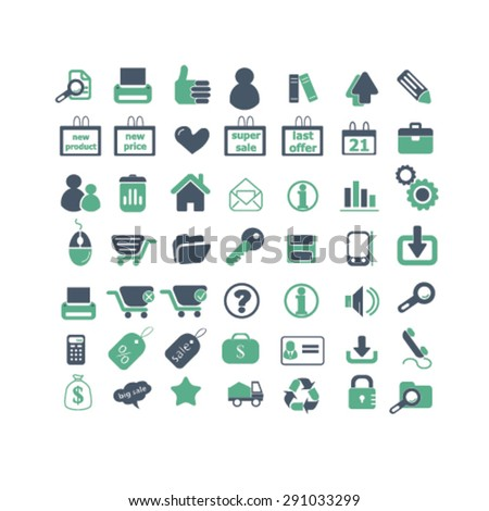 shop, retail, store, ecommerce, isolated icons, signs, illustrations on white background for website, internet, mobile application, vector - stock vector