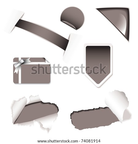 Shop sale tags and icons with torn paper and corner elements - stock vector