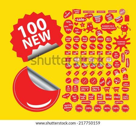 shop sales stickers, icons, signs, illustrations, vectors, symbols set - stock vector