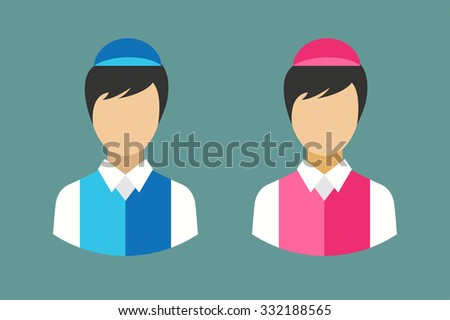 Shop seller face silhouette. Food restaurant worker vector. Human market seller vector illustration. Vector vender man abstract face isolated. Vendor, seller, shop worker, chief face.Delivery man icon - stock vector