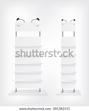 Shop shelves white - stock vector