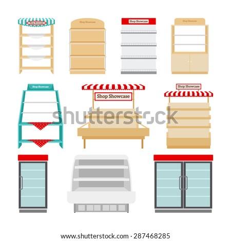 Shop showcases, store shelves or market stalls set vector illustration - stock vector