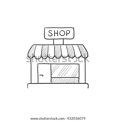 Shop store vector sketch icon isolated on background. Hand drawn Shop store icon. Shop store sketch icon for infographic, website or app. - stock vector