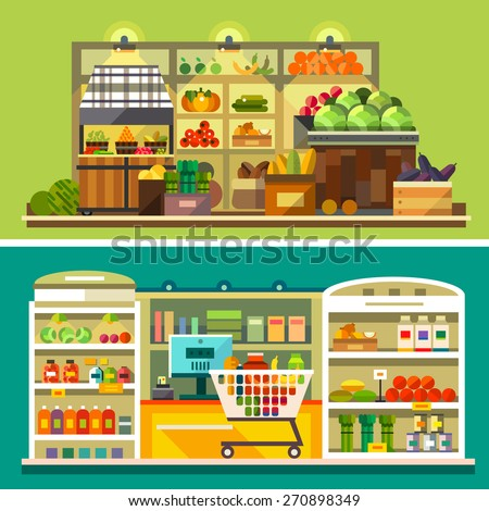 Shop, supermarket interior: showcases, fruits, vegetables, drinks, sweets, cash, shopping basket. Healthy eating and eco food. Vector flat illustrations - stock vector