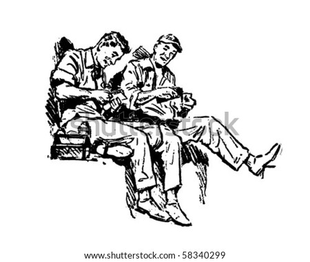 Shop Talk - Workers On Lunch Break - Retro Clip Art - stock vector