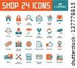 Shop 24 Vector Icons - Internet Shoppin & E-Commerce - stock vector