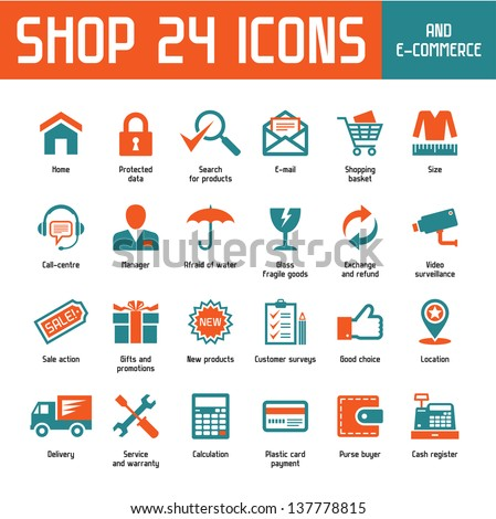 Shop 24 Vector Icons - Internet Shoppin & E-Commerce - stock vector