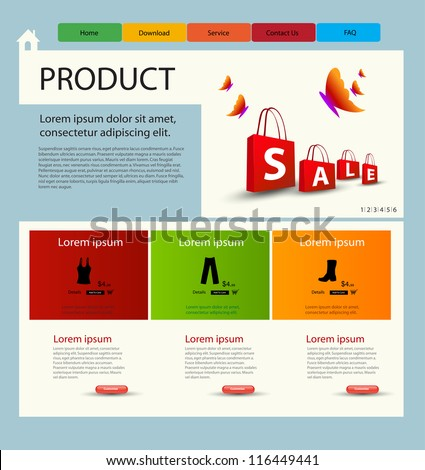 Shop website template - stock vector