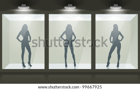 Shop with glass windows and women silhouette, front view. Vector exterior. - stock vector