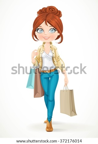 Shopaholic brunette girl goes with paper bags isolated on a white background