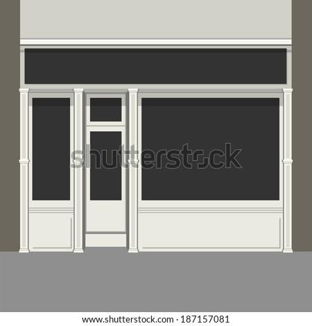 Shopfront with Black Windows. Light Store Facade. Vector. - stock vector