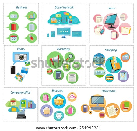 Shoping and different goods. Modern marketing process. Analysis and searching. Social network, computer office, shopping, delivery and office work. Working process of business team in flat design - stock vector