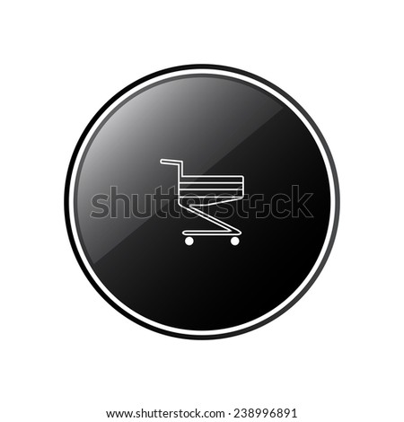 Shoping basket round black glossy button for the site, vector, EPS 10