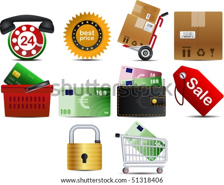 shoping set of 10 icons part 1 - stock vector