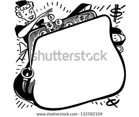 shopper change purse ad frame retro stock vector 132582104 rh shutterstock com