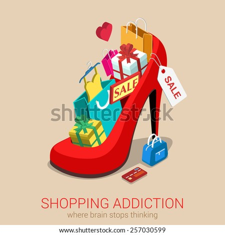 Shopping addiction sale madness flat 3d isometric web infographic template vector concept. Huge oversized red shoe full of gift box goods clothes credit card bag. Creative design conceptual collection - stock vector