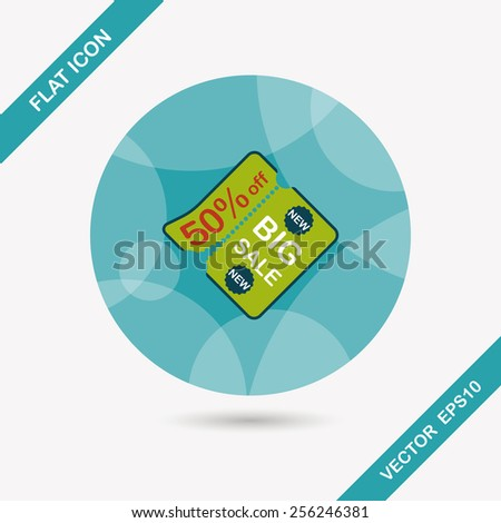 shopping advertising flyers flat icon with long shadow,eps10 - stock vector