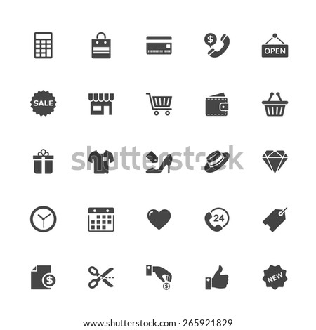 Shopping and Commerce Icon on White Background. Vector Illustration. - stock vector