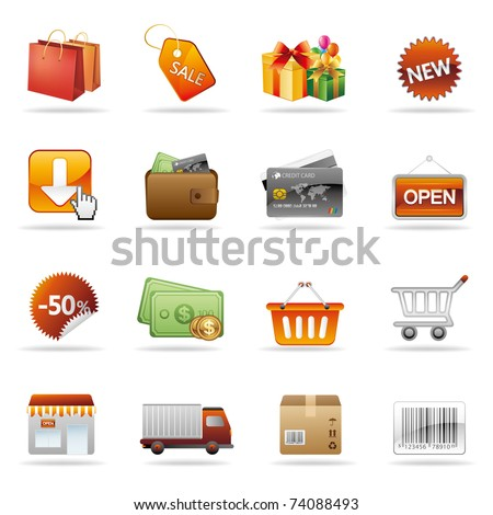 shopping and consumerism icon set - stock vector