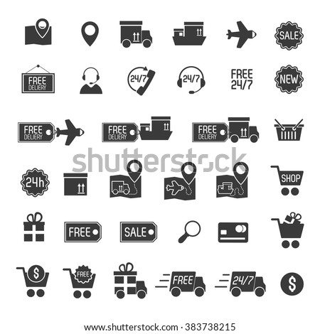 Shopping and delivery black set icons isolated on white background. Vector Illustration