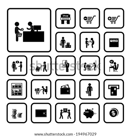 shopping and delivery icon set
