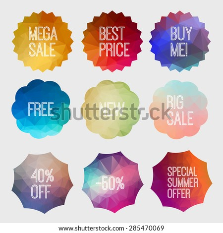 Shopping and Discount Tags Vector Set. Special summer offer. - stock vector