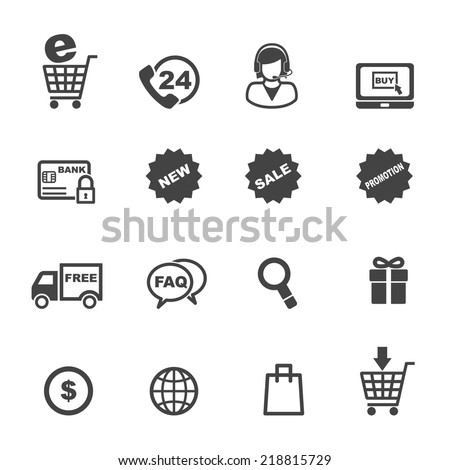 shopping and e-commerce icons, mono vector symbols - stock vector