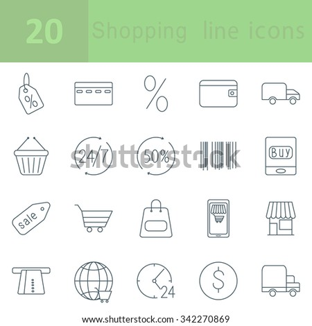 Shopping and E-commerce outline icons - stock vector