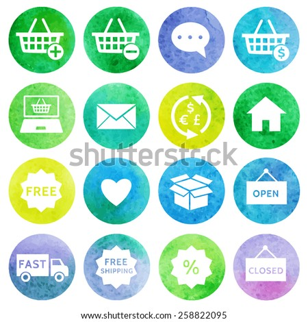 Shopping and e-commerce watercolor icons set 1. Vector - stock vector