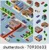 Shopping and Grocery. Set of very detailed isometric vector - stock photo