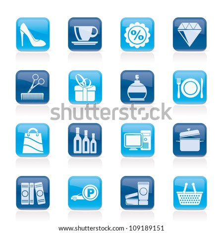 Shopping and mall icons - vector icon set - stock vector