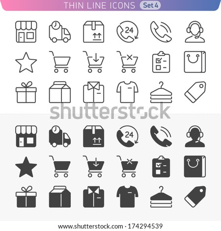 Shopping and money set. Trendy line icons for web and mobile. Normal and enable state. - stock vector
