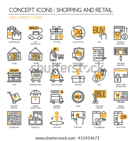 Shopping and Retail  , Thin Line and Pixel Perfect Icons - stock vector