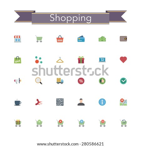Shopping and sale flat icons set. Vector illustration. - stock vector