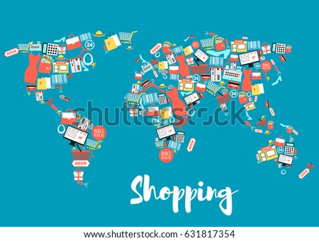 Shopping sale icons creating world map stock vector 631817354 shopping and sale icons creating world map shopping basket and bag gift box gumiabroncs Gallery